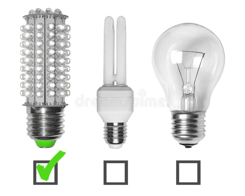 Led, neon and tungsten bulbs royalty free stock photography