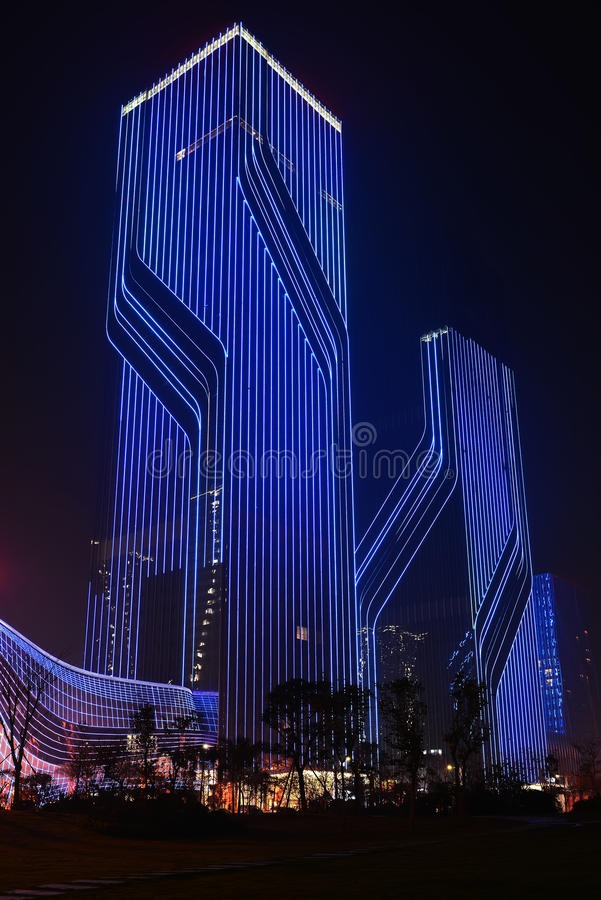 Led night lighting of commercial building curtain wall stock image download led night lighting of commercial building curtain wall stock image image of electrical aloadofball Images