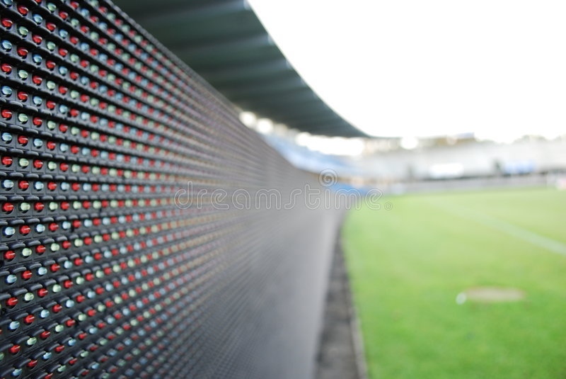 LED perimeter display. Electronic LED perimeter display on Blue Water Arena, Esbjerg, Denmark stock photography