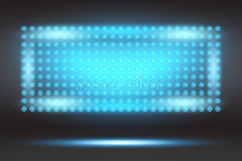 LED projection screen in blue. Vector illustration EPS10.  stock illustration