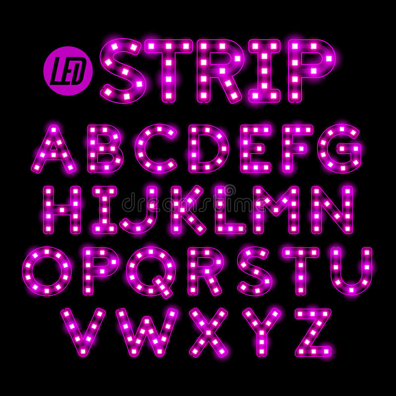 LED ribbon strip light font royalty free illustration