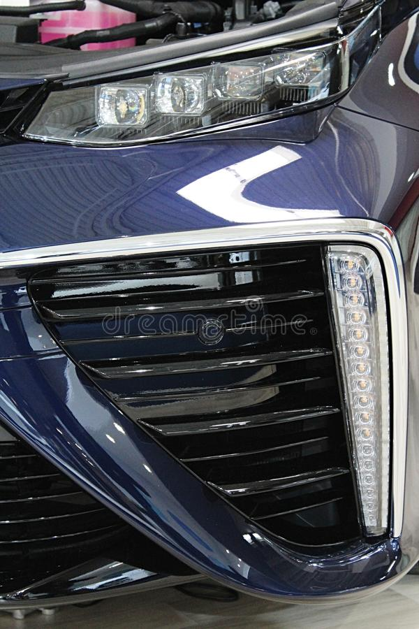 LED segment headlights of first serial produced japanese hydrogen fuel cell car. LED segment headlights of serial produced japanese hydrogen fuel cell car stock photo