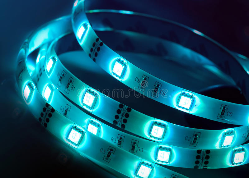 Led shining diode lights. Strip. royalty free stock images
