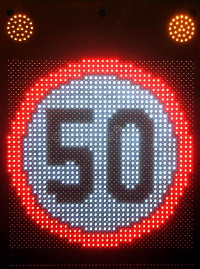Led Sign 50. Speed Limit 50 Led Traffic Sign Warning stock images