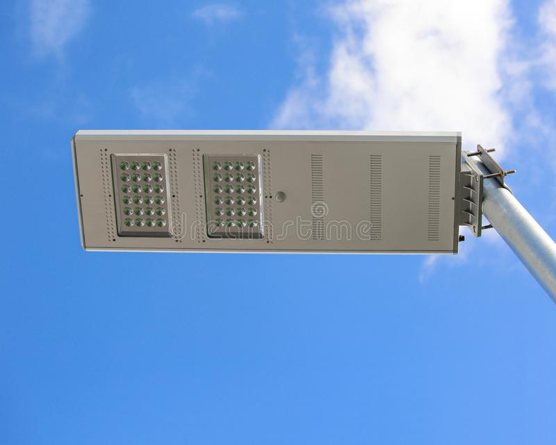 Led street lamp, blue sky background. Close up royalty free stock photography