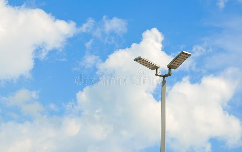 LED street lamps with energy-saving technology, cloud on sky background.  stock photos