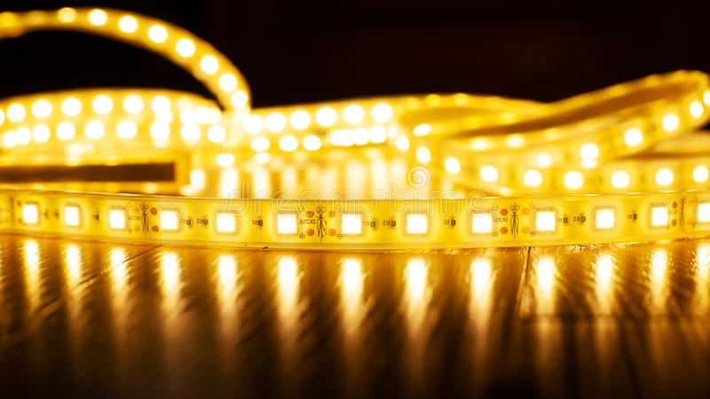 LED strip for illuminating the warm spectrum, decorative LED light royalty free stock image