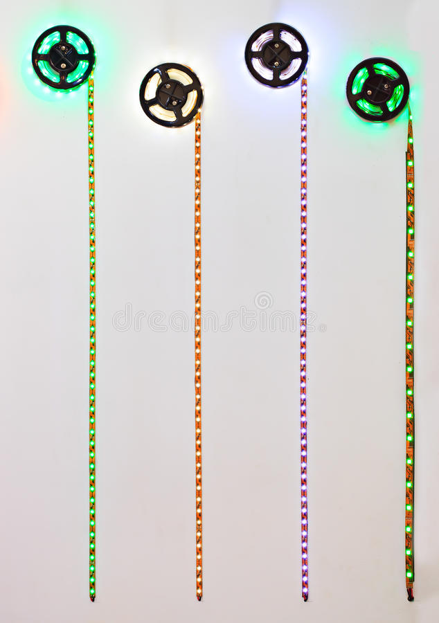 LED strip with red, green and blue LEDs. royalty free stock image