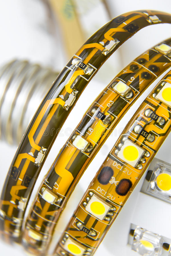Free Led Strips On The Bulb With E27 Thread Royalty Free Stock Image - 31396206