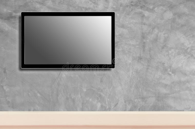 LED television screen mockup, blank hdtv on concrete wall in the room stock photography