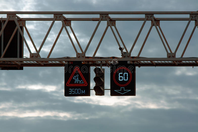LED traffic road signs and traffic light. With camera royalty free stock images