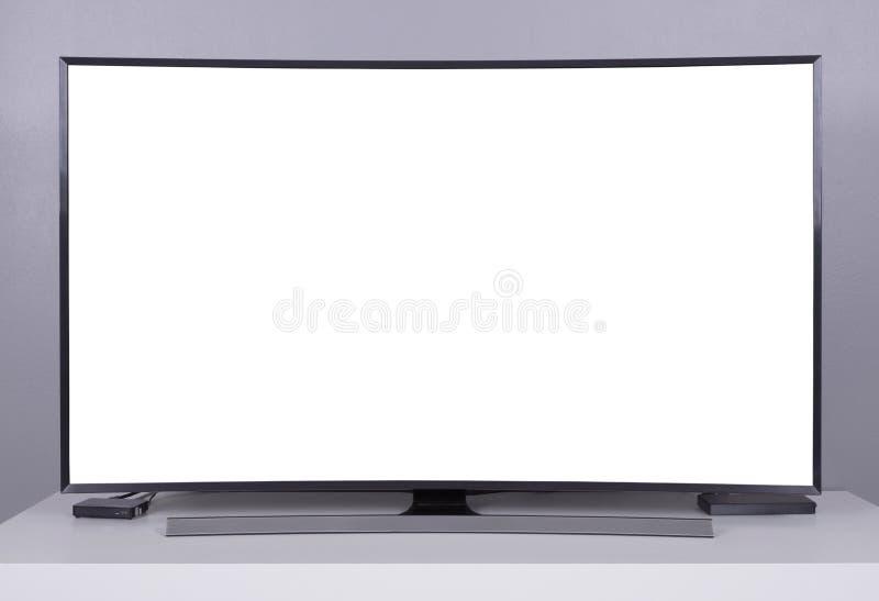 LED TV avec l'écran vide sur le support image stock