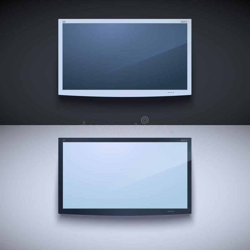 Led tv hanging on the wall vector illustration