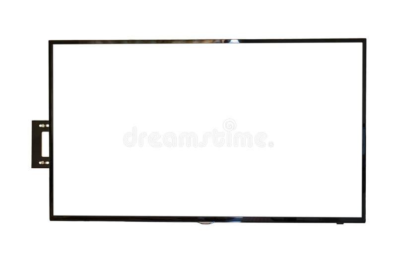 LED TV, instalación de la pared, aislada en el fondo blanco imagen de archivo