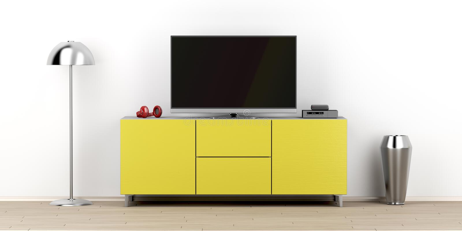 Led tv in the living room. Led tv with empty screen on modern tv stand in the living room, front view royalty free illustration