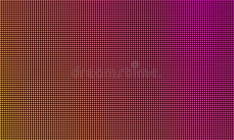 LED TV screen monitor, digital diode light texture background. Vector video wall led tv display, purple gradient color mesh. Pattern background stock illustration
