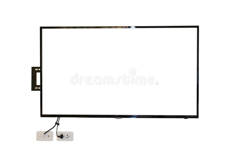 LED TV, wall installation with wire, isolated on white background. LED TV, wall installation with wire. isolated on white background stock photos
