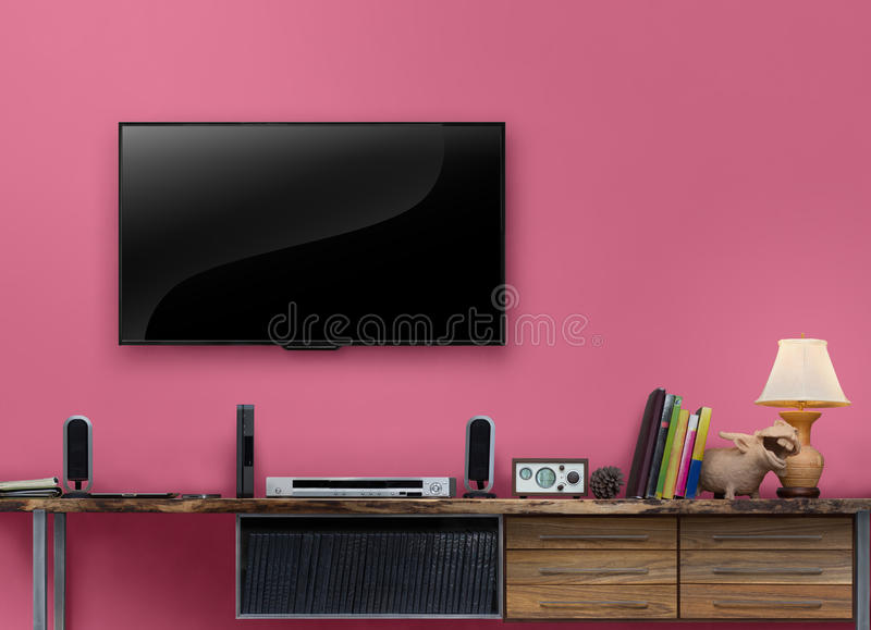 Led Tv Wooden Table With Pink Wall In Livingroom Stock Image - Image ...