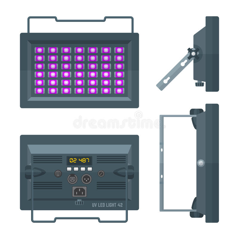 LED ultraviolet professional stage projector colored flat illustration various position. LED ultraviolet blacklight professional stage projector lightning stock illustration