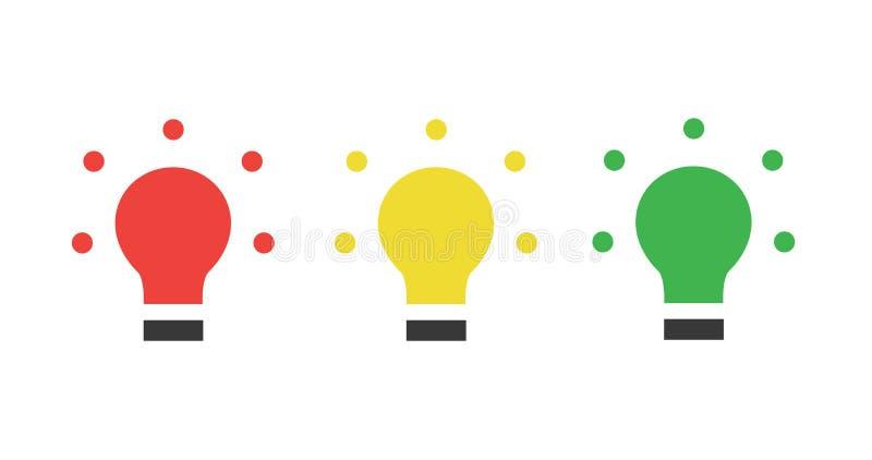 LED verte jaune rouge, feux de signalisation, icône plate d'ampoule, illustration de vecteur d'isolement sur le fond blanc illustration stock