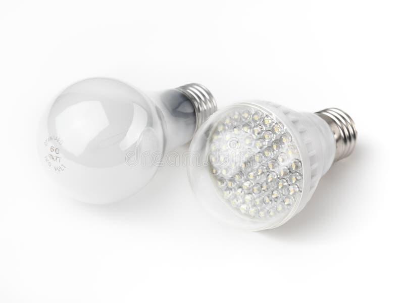 LED y bombillas incandescentes imagen de archivo