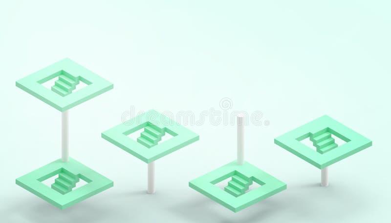 Leda begrepp och grön trappa och illusionen med affärsframgång på grön bakgrund royaltyfri illustrationer