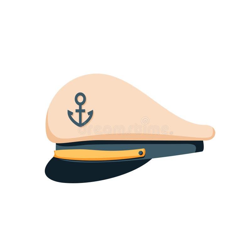 Leda sjömanhattsymbolen, lägenhetdesignvektor Marinlock, skepptjänsteman eller amiral Sjöman sjö- kaptenhatt vektor illustrationer