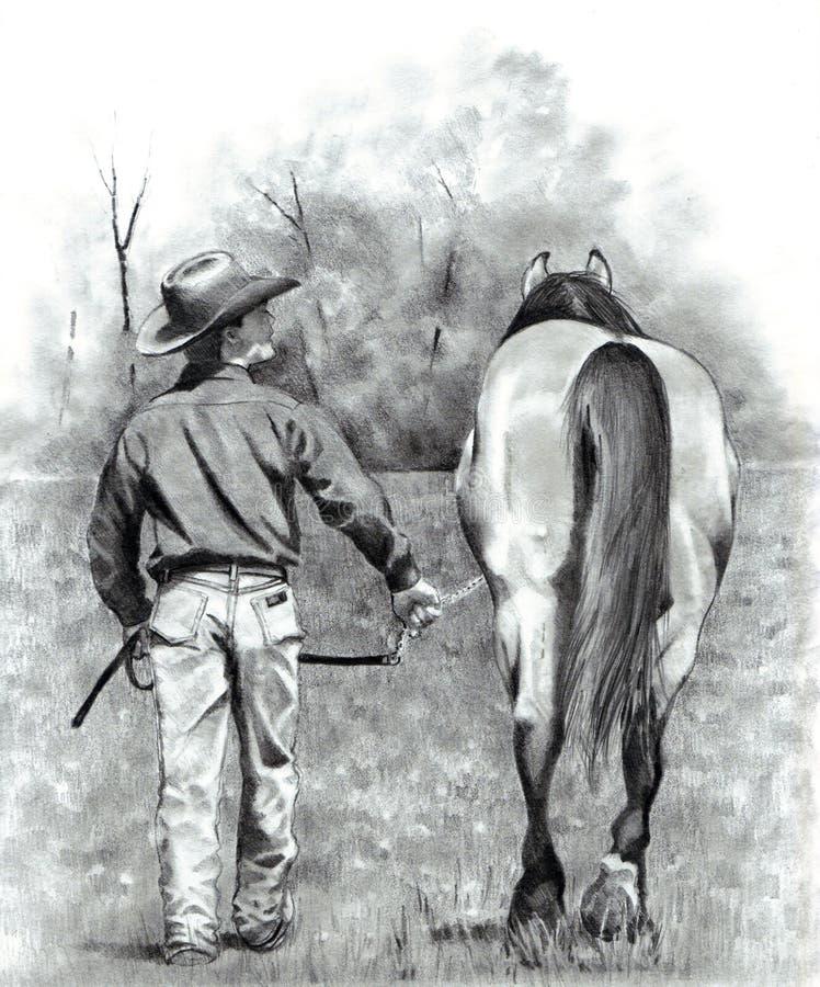 ledande blyertspenna för cowboyteckningshäst royaltyfri illustrationer