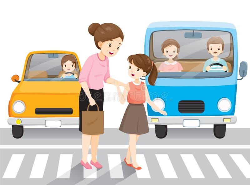 Ledande gammal kvinna för ung flicka som korsar gatan på övergångsställe Bilar som väntar dem stock illustrationer