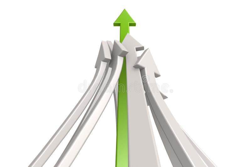 Ledande grön pil vektor illustrationer