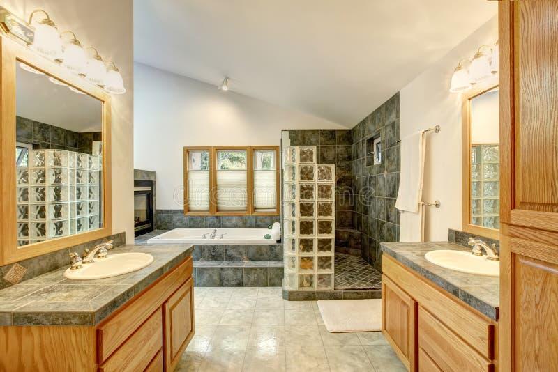 Ledar- badruminre med tegelplattadurken och moderna kabinetter royaltyfri bild