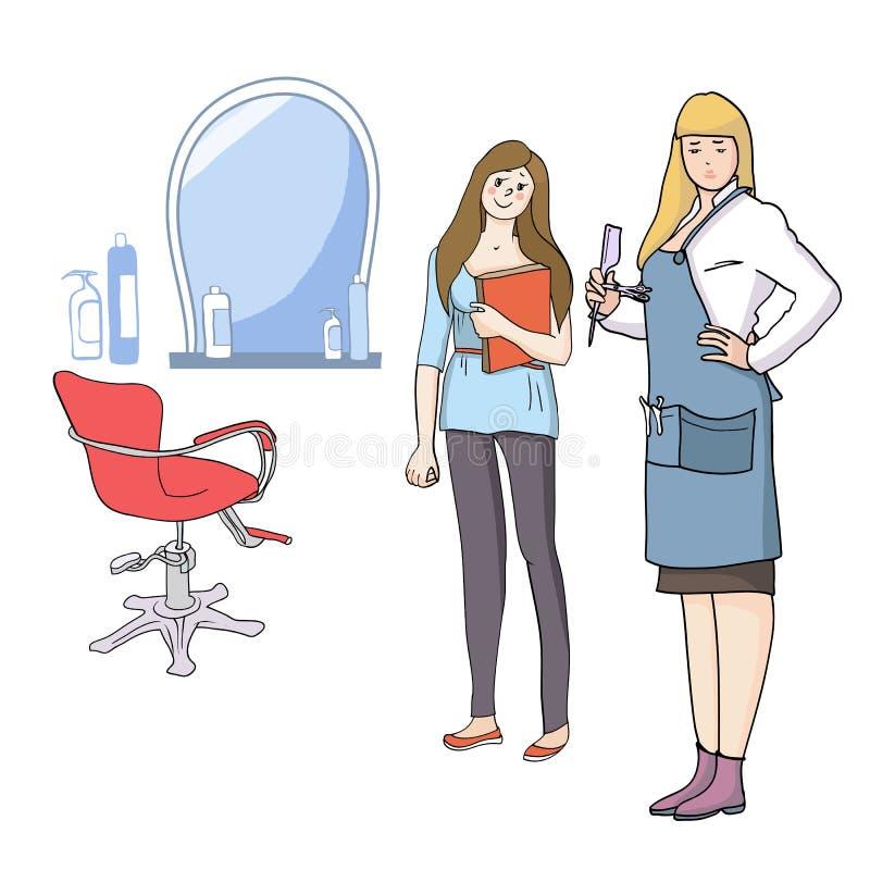 Ledar- frisör och klient royaltyfri illustrationer