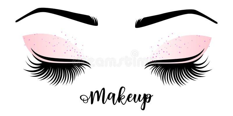 Ledar- logo för makeup Vektorillustration av snärtar och krönet vektor illustrationer