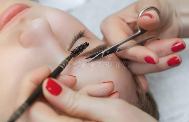 Ledar- makeup korrigerar, ger form till och snittet med saxögonbryn i en skönhetsalong arkivbild
