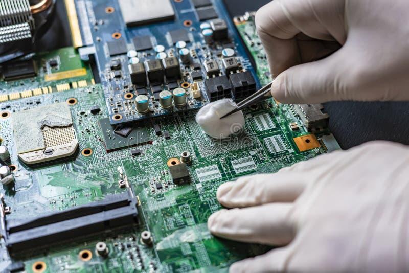 Ledar- reparation datordelarna som gör ren brädet som använder bomulltampongen f arkivfoto