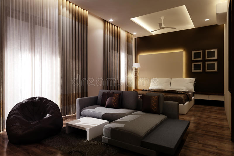 Ledar- sovrum 3D stock illustrationer
