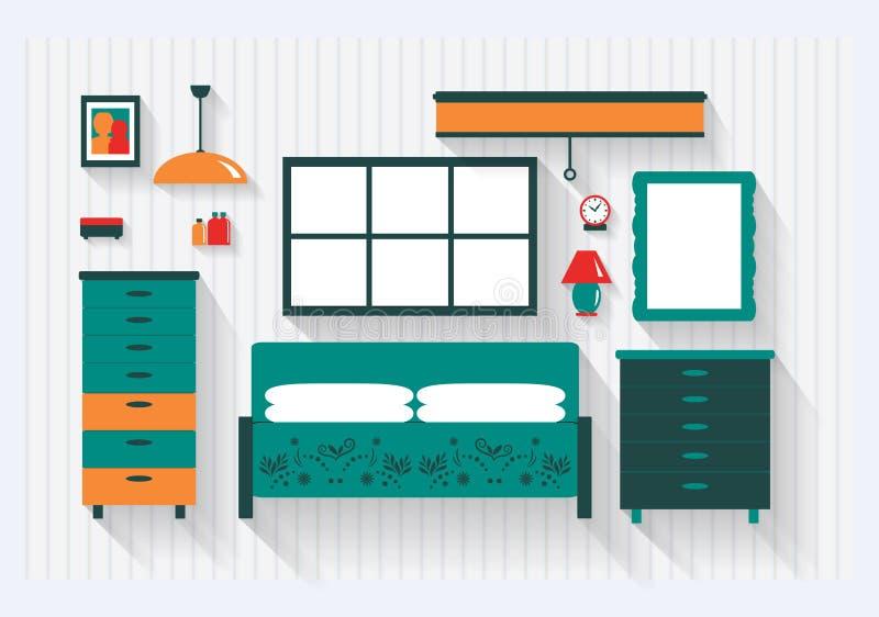 Ledar- sovrum med s?ngsk?nkm?blemang och f?r monteringar skuggor l?nge vektor illustrationer