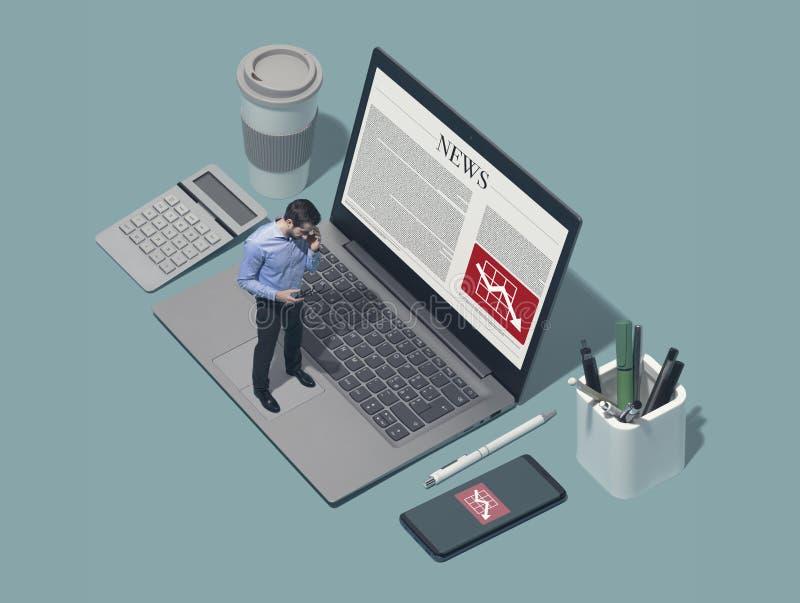 Ledare för företags affär som direktanslutet kontrollerar dålig finansiell nyheterna arkivfoton