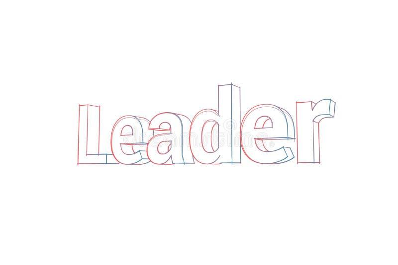 Ledare - illustration för text 3D - ord med kulöra linjer tilda och apelsin på vit stock illustrationer