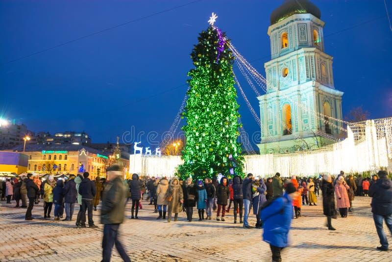 ledare Kyiv/Ukraina - Januari, 13, 2018: Mässa för ` s för nytt år på Sophia Square arkivfoto