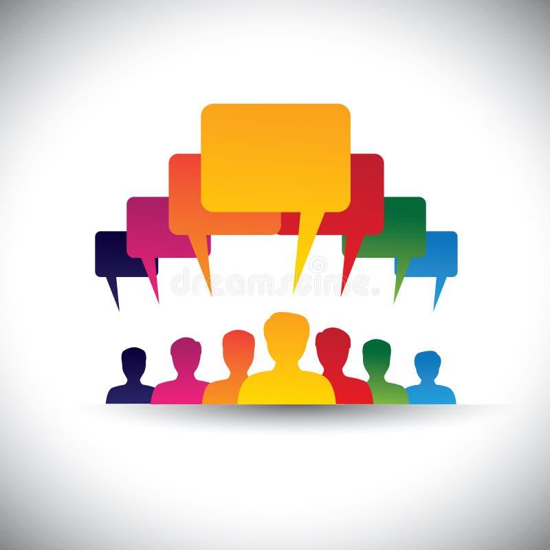 Ledare & ledarskapbegrepp av att motivera folk - vektor royaltyfri illustrationer