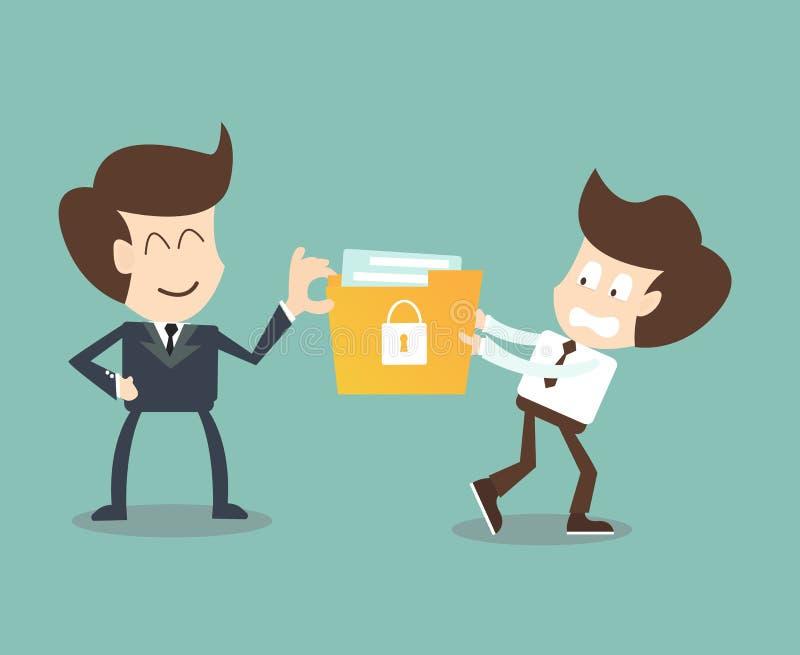 Ledare stjäler hemligt innehålla för mappar av anställda, företags dataläckage royaltyfri illustrationer