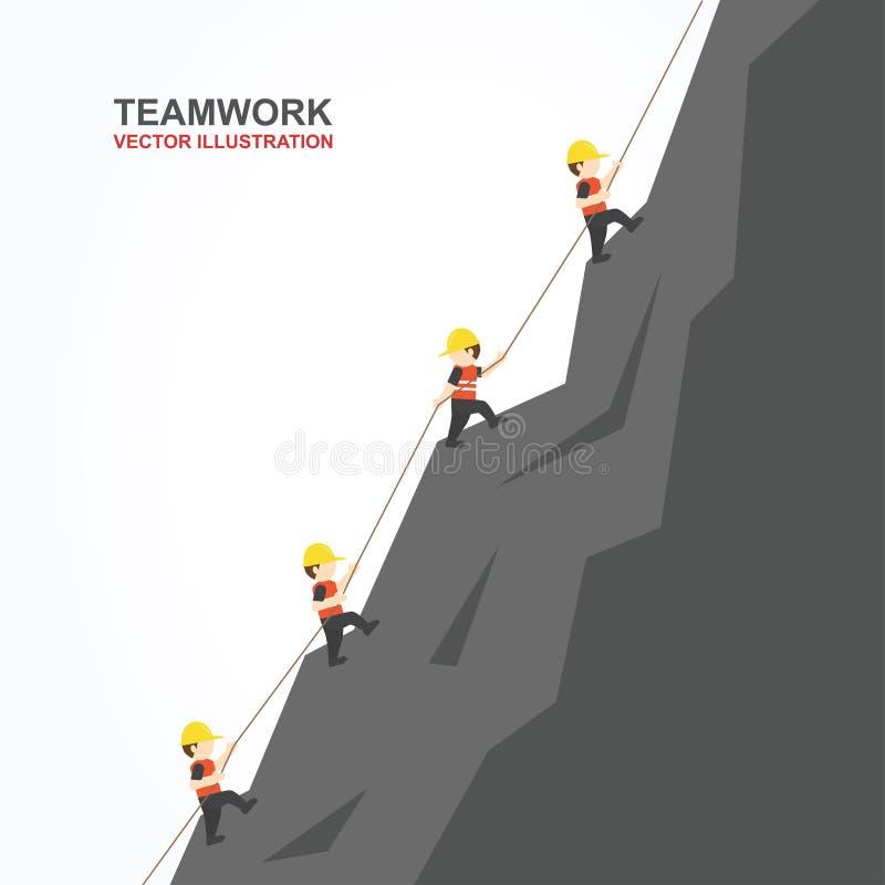 Ledarehjälp deras vän som ska klättras till överkanten av berget också vektor för coreldrawillustration royaltyfri illustrationer