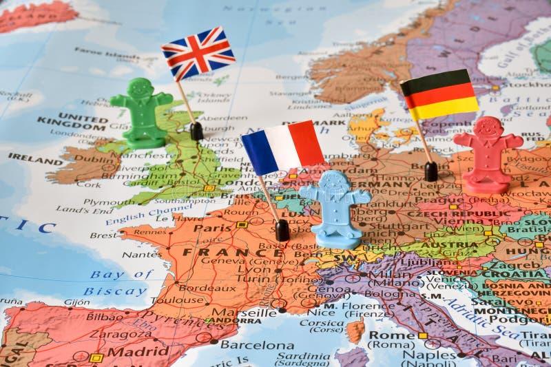 LedarelandsTyskland, Frankrike, UK, begreppsbild royaltyfria foton