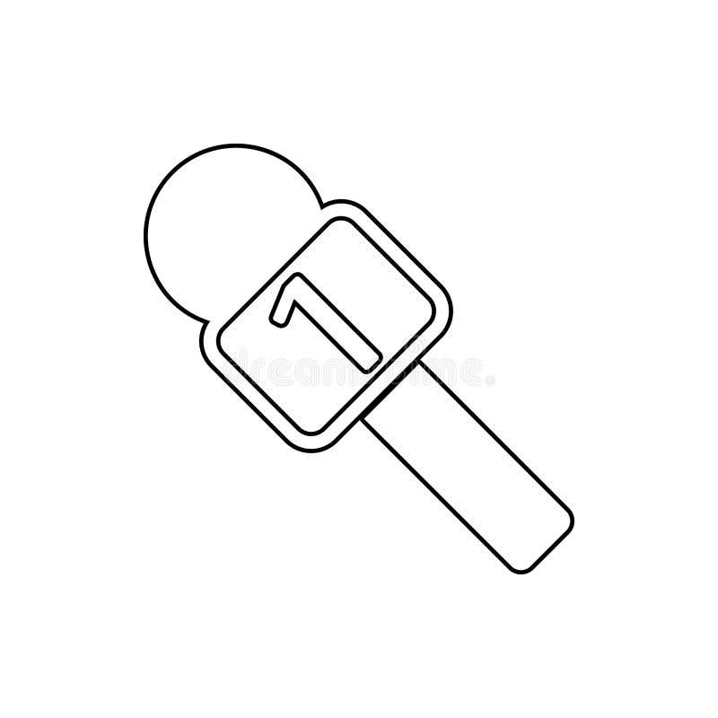 ledaremikrofonsymbol Beståndsdel av massmedia för mobilt begrepp och rengöringsdukappssymbol Tunn linje symbol för websitedesign  stock illustrationer