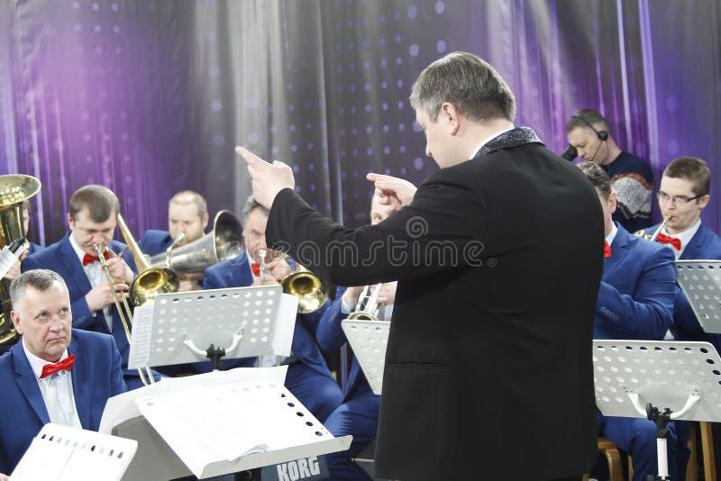 Ledaren av orkesteren arkivfoton