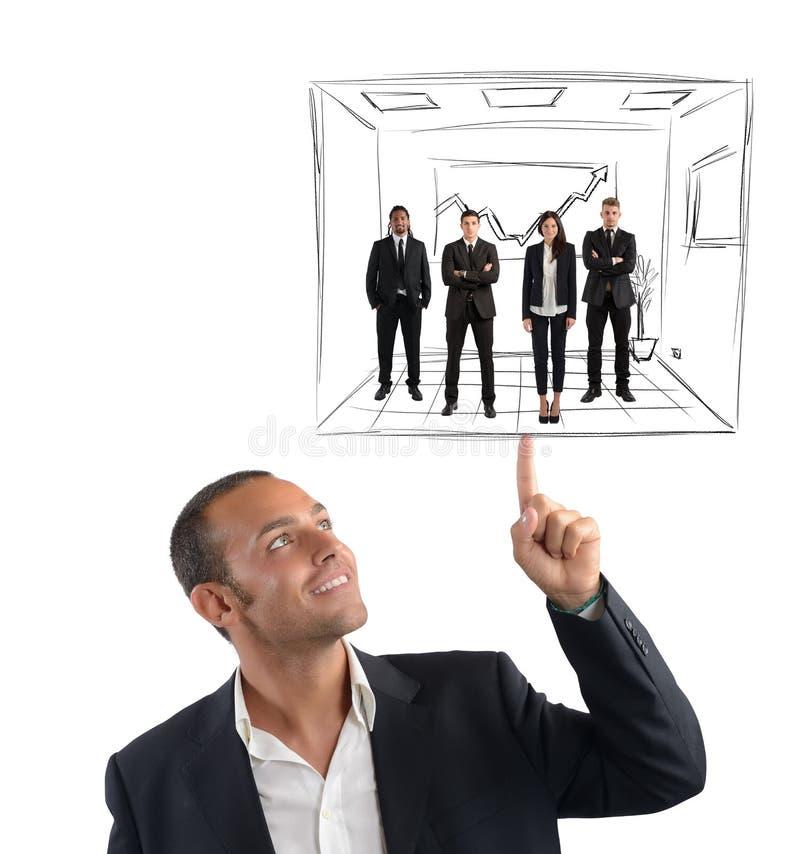 Ledaren fungerar med enkelhet arkivfoto