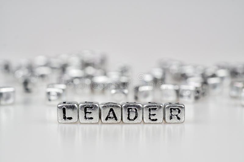 Ledareord som är skriftligt på silverkuben med svartvit bokeh c arkivfoton