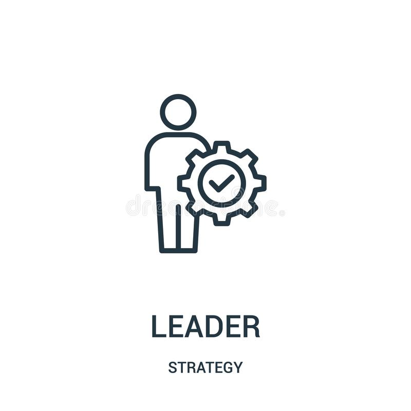 ledaresymbolsvektor från strategisamling Tunn linje illustration f?r vektor f?r ledare?versiktssymbol Linj?rt symbol royaltyfri illustrationer