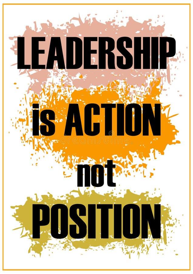 Ledarskap är positionen för handling som inte inspirerar citationsteckenvektorillustrationen royaltyfri illustrationer